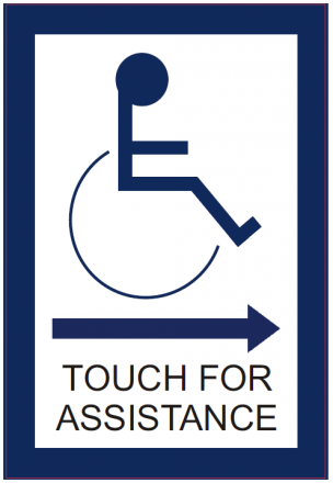 Touch For Assistance Through Glass Sign (Right Arrow)