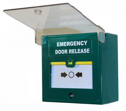 Green Emergency Break Glass Unit - Single Pole