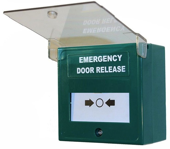 Break Glass Call Point Green Emergency Door Release - Single Pole *with sounder*