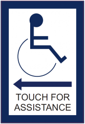 Touch For Assistance Through Glass Sign (Left Arrow)